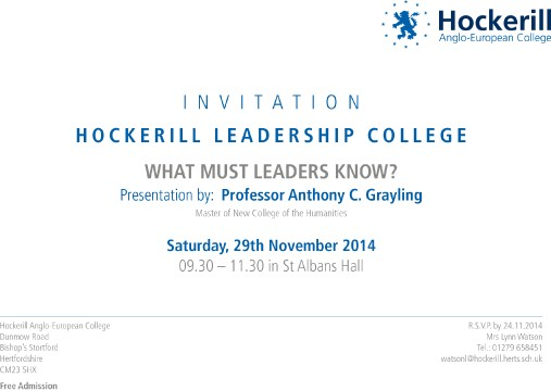 Prof Grayling Invitation